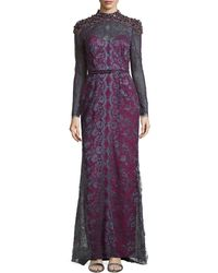 Carolina Herrera Lace Gown With Contrast Lining - Lyst