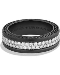David Yurman Streamline Tworow Band Ring with Diamonds - Lyst