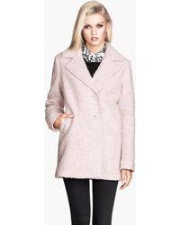 H&M Bouclé Coat pink - Lyst