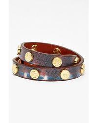 Tory Burch Logo Leather Wrap Bracelet - Sonda Print/ Shiny Brass - Lyst
