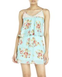 City Triangles Floral Print Popover Dress - Lyst