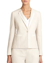Max Mara Ghinea Piped Linen Jacket - Lyst
