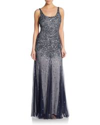 Adrianna Papell Embellished Godet Gown - Lyst