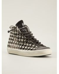 Leather Crown Houndstooth Hitop Sneakers - Lyst