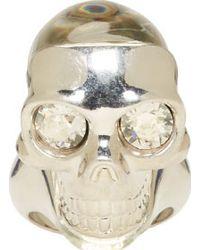 Alexander McQueen Silver Perspex Skull Ring - Lyst
