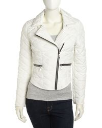French Connection Quilted Zip Detailed Moto Jacket Antique Lace - Lyst