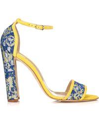 Manolo Blahnik Yellow Silk Sonia Sandals - Lyst
