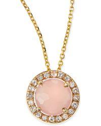 KALAN by Suzanne Kalan - 6mm Rose Quartz & White Sapphire Pendant Necklace - Lyst