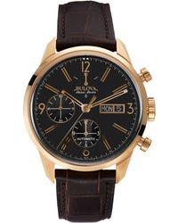 Bulova Accuswiss Men'S Automatic Chronograph Murren Brown Leather Strap Watch 41Mm 64C106 - Lyst