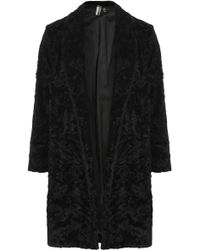 Topshop Crushed Faux Fur Throw On Coat Black - Lyst