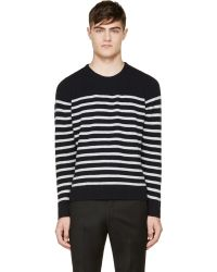 A.P.C. Navy and Grey Striped Sweater - Lyst