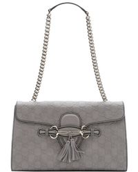 Gucci Grey Sima Leather 'Emily' Shoulder Bag - Lyst