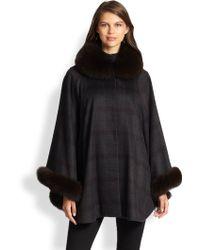 Sofia Cashmere Fox Fur-trimmed Plaid Cashmere Cape - Lyst
