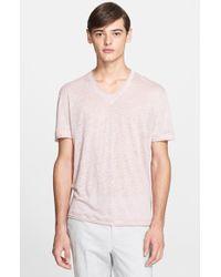John Varvatos Linen V-Neck T-Shirt pink - Lyst
