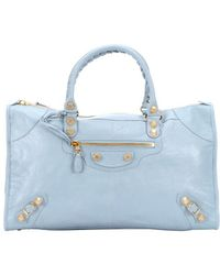 Balenciaga Blue Leather 'Giant Work' Large Top Handle Bag - Lyst