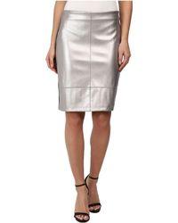 Karen Kane Silver Faux Leather Skirt - Lyst