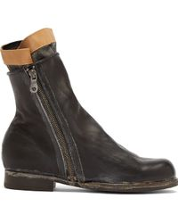 Miharayasuhiro Black Leather and Tweed Layered Boots - Lyst