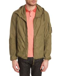 C P Company Hooded Kagoule Green Jacket - Lyst