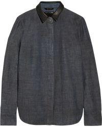 Rag & Bone Classic Leather-trimmed Chambray Shirt - Lyst