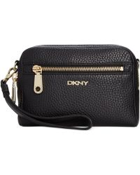 DKNY Tribeca Leather Clutch Convertible Wristlet - Lyst