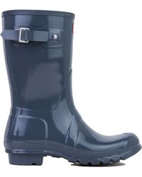 Hunter Original Short Gloss Rain Boots In Graphite - Lyst
