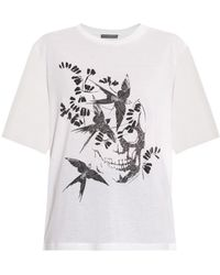 Alexander McQueen Swallow And Skull-Print Cotton T-Shirt - Lyst