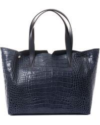 Vince - Medium Navy Croc-embossed Leather Tote Bag - Lyst