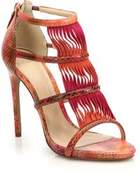 Alexandre Birman Wavy Suede & Watersnake Sandals - Lyst