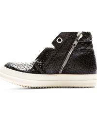Rick Owens Black Python Leather Island Dunk Sneakers - Lyst