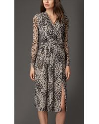 Burberry Patterned Silk Wrap Dress - Lyst