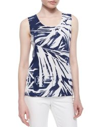 Lafayette 148 New York Sleeveless Tropical-Print Shell - Lyst