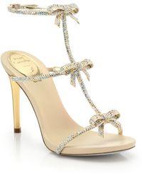 Rene Caovilla Strass Swarovski Crystal Bow Sandals - Lyst