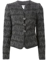 Armani Fitted Jacquard Jacket - Lyst
