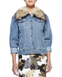 MICHAEL Michael Kors Denim Jacket with Fur Collar - Lyst