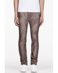 Diesel Brown Mottled Chi Tight Trousers - Lyst