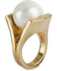 Lele Sadoughi Pearl Pinball Ring gold - Lyst