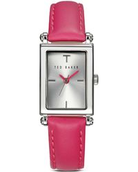 Ted Baker Bliss Rectangle Leather Strap Watch 20mm - Lyst