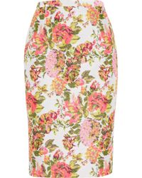 Stella McCartney Neon Floral Jacquard Pencil Skirt - Lyst