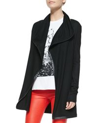Helmut Lang Leathertrim Long Wool Cardigan - Lyst