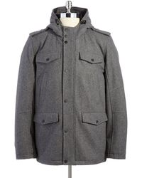 Guess - Hooded Wool Coat - Lyst