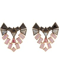 Nak Armstrong - Mixed-gemstone Shield Stud Earrings - Lyst
