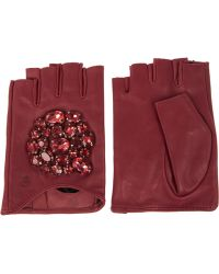 Karl Lagerfeld Crystal Embellished Fingerless Leather Gloves - Lyst
