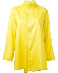 Issey Miyake Band Collar Shirt - Lyst