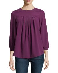 Catherine Catherine Malandrino Pleated Georgette Blouse - Lyst