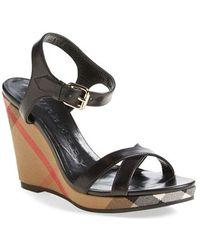 Burberry | 'rastrickson' Wedge Sandal | Lyst