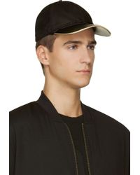 Marc Jacobs Black Leather and Nubuck Gold Trimmed Cap - Lyst