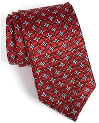 JZ Richards Geometric Grid Silk Tie - Red