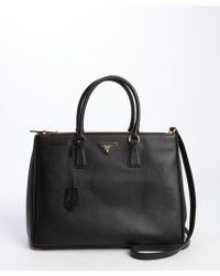 Prada Black Saffiano Leather Front and Back Pocket Convertible Tote - Lyst