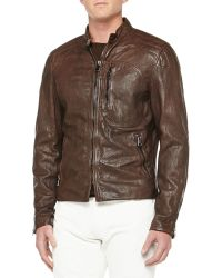 Ralph Lauren Black Label - Washed Leather Moto Jacket - Lyst