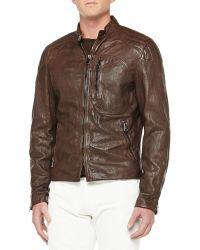 Ralph Lauren Black Label Washed Leather Moto Jacket - Lyst